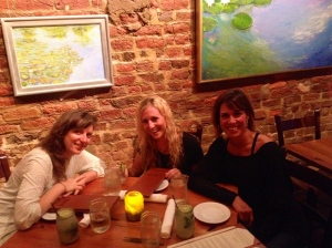Michele, Jordan, and Liza enjoy dinner at The Local